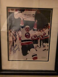 Autographed & Custom Framed Mike Bossy (8x10) photo holding the Cup New York, 11361