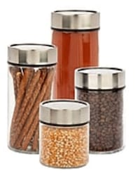 Brand New Honey-Can-Do 4 Piece Glass Canister Set With Date Dial Lid