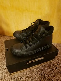 pair of black leather high-top sneakers with box Germantown