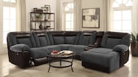 Espresso Leather and Upholstered Sectional Sofa ($40) Down Payment Charlotte, 28216