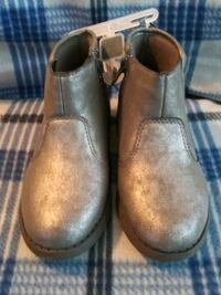 Brand New Gray leather boots with pink sparkles