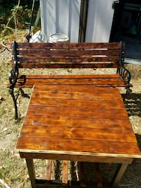 Antique Victorian Bench & Table