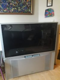 white and black rear projection television