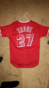 red and white Trout 27 jersey shirt