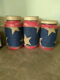 three red-and-blue glass jars Niles, 44446