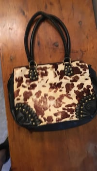 White and black leopard print leather tote bag Fayetteville, 72703