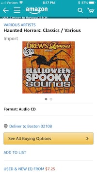 2 Halloween CDs Drew's famous spooky sounds and juice famous Halloween costume party sounds Middletown, 06457