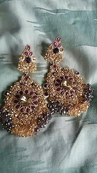 pair of gold-colored  gemstone encrusted chande Orangeville, L9W 4Z7