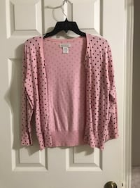 pink and black polka-dot cardigan