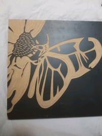 Wooden Picture with butterfly carving inset