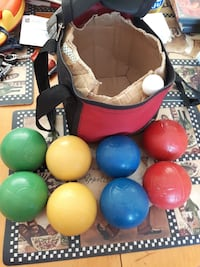 assorted-color balls with bag