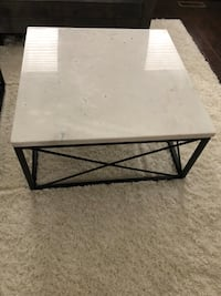 Square marble top coffee table with metal frame