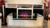 Leather Sofa set with fire place tv stand