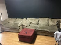 brown suede sectional couch with ottoman 2292 mi