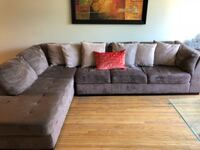 brown suede sectional couch with throw pillows Ontario