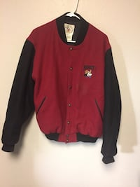 red and black Mickey Mouse-printed letterman jacket Denver, 80207