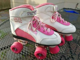 White & Pink Girls Roller Skates