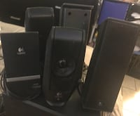 Used Logitech X-240 2.1 Speakers (Black) and two extra Logitech s-120