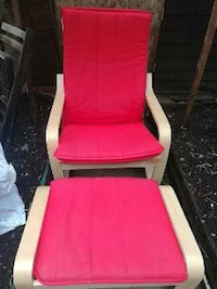 beige wooden framed red padded ottoman chair Toronto, M5S 1G1