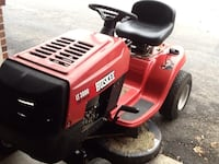red and black Craftsman ride-on mower 308 mi