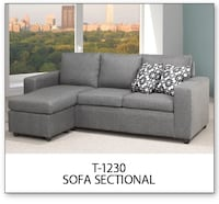 Gray fabric sectional sofa with throw pillows Toronto, M6N