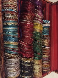 Purple, green, and red textile