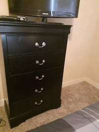 Queen bed and five drawer chest