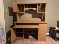 Brown wooden computer desk with hutch Port Coquitlam, V3B 8B2