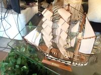 brown and white wooden galleon ship miniature Lloyd Harbor, 11743