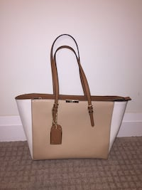 Beige and white leather tote bag Oshawa, L1L