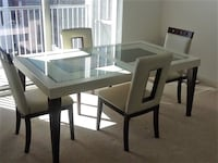 rectangular white wooden table with four chairs dining set Washington, 20024