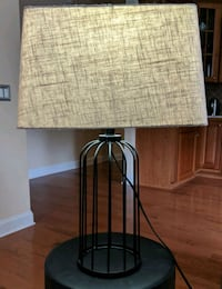 black metal base with beige lampshade table lamp 230 mi