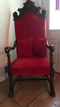 Red and black wooden armchair Islip, 11795