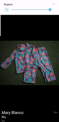 toddler's pink and blue pajama set 45 km