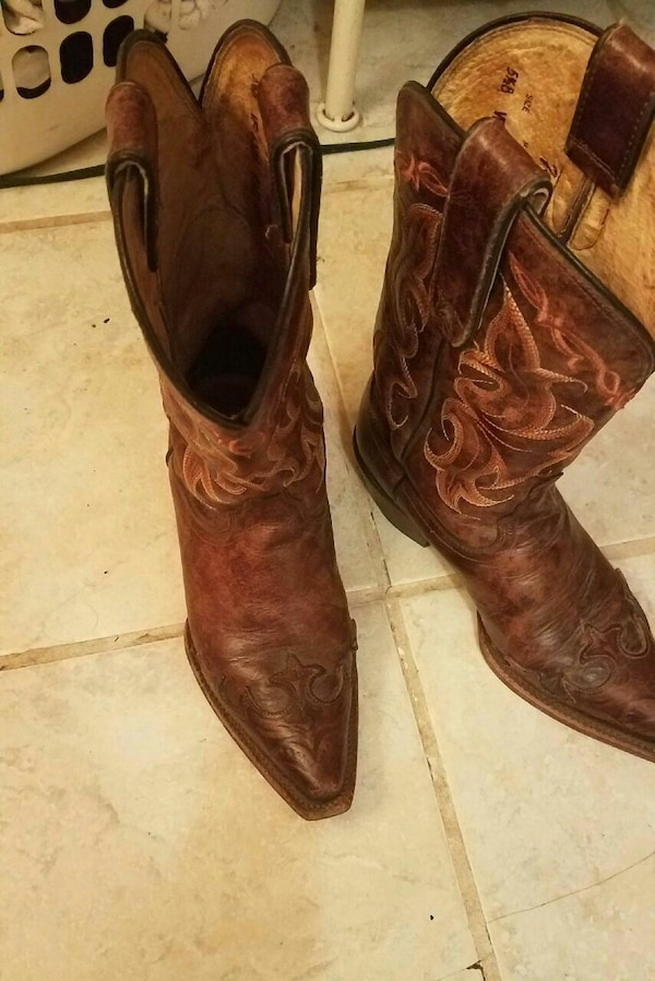 a0be6148319 pair of brown leather wide-calf cowboy boots