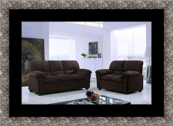 Chocolate microfiber sofa and loveseat