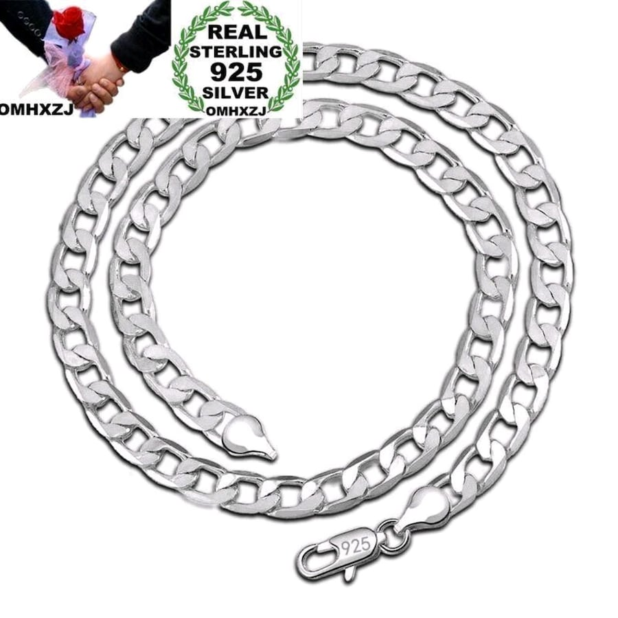 925 Silver 8MM Figaro Chain Necklace 24 Inch New