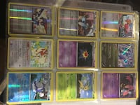 Nine assorted pokemon trading card collection