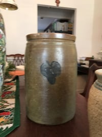 Old Time Masonry Container and   An old painted Cookie Jar