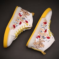 CHOCALIA JONES DRAGON EMBROIDERED HIGH TOP CANVAS SNEAKER IN MULTI COL Istanbul