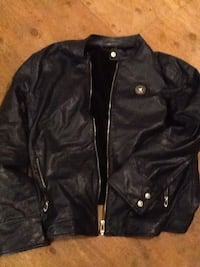 Versace men's blue leather jacket 3 XL. Beautiful butter soft leather. Lightly worn