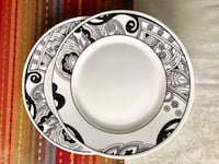 Round white and black ceramic plate Gaithersburg, 20877