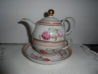 white and pink floral ceramic tea pot FREDERICK