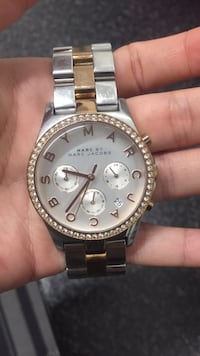 Round silver michael kors chronograph watch with silver link bracelet London, N17