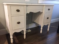 White wooden single pedestal desk. This would make a great DIY project with some Chalk paint. Surrey, V4N 5A4
