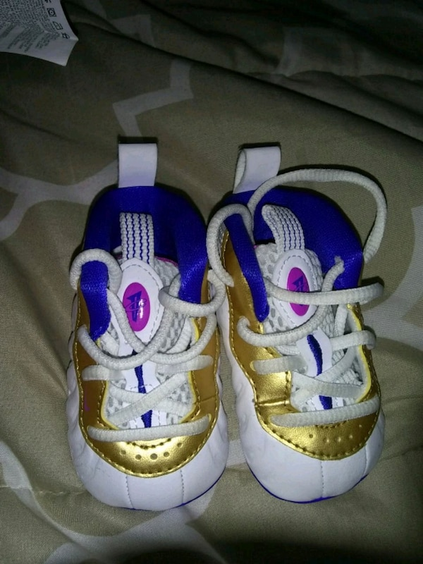 ae3379d6354 Used pair of white-purple and gold Foamposites for sale in Durham ...