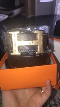 black leather belt with silver buckle Sterling Heights, 48314