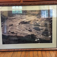 Black wooden framed  Picture of an aerial construction Newport national golf course Portsmouth Middletown Rhode Island Design by Arthur Hill Portsmouth, 02871
