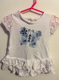 toddler's white and blue floral cap-sleeved dress