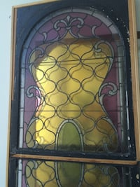 ANTIQUE SPECTACULAR UNIQUE PASTEL STAINED -GLASS VERY XLARGE FRAMED Toronto, M5H